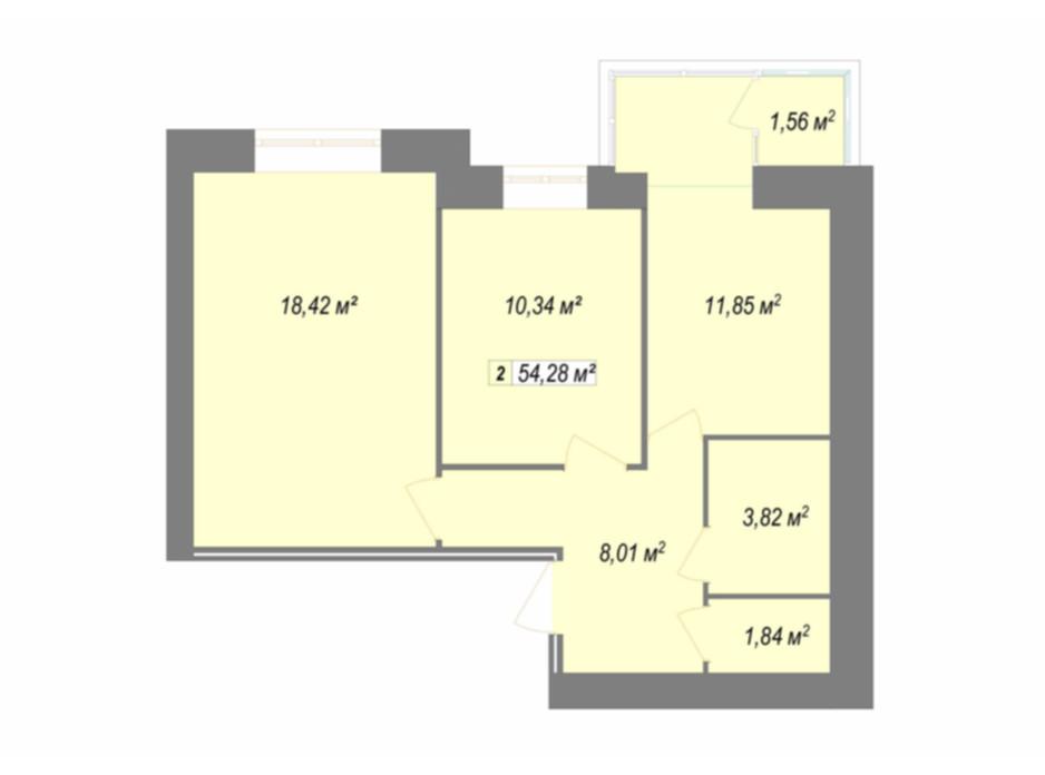 Планування 2-кімнатної квартири в ЖК Кудрянка 54.28 м², фото 107667