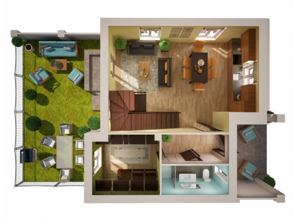 Планування багаторівневої квартири в Таунхаус Вілла Троянд 118 м², фото 108137