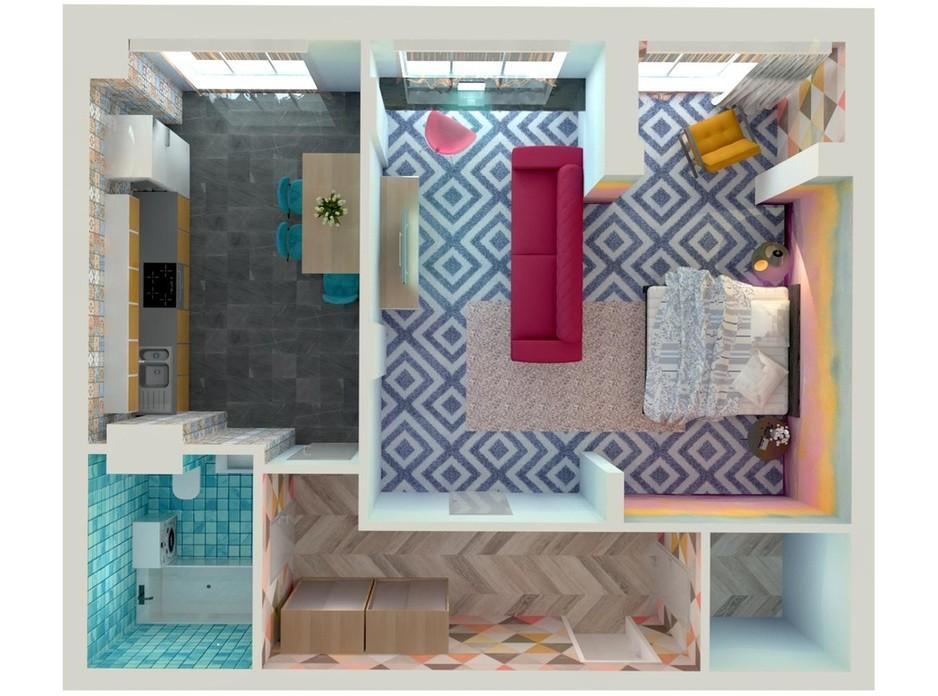 Планування 1-кімнатної квартири в ЖК Orange Park 49.46 м², фото 108216