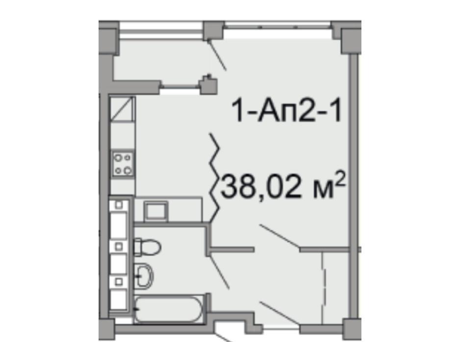 Планировка 1-комнатной квартиры в ЖК Троицкий 38.02 м², фото 108292