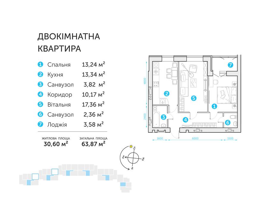 Планировка 2-комнатной квартиры в ЖК Супернова 63.87 м², фото 108297