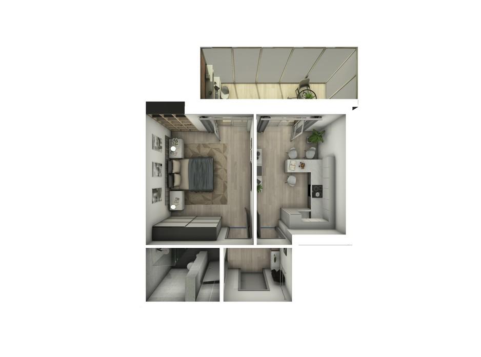 Планування 1-кімнатної квартири в ЖК Райдужний 43.08 м², фото 108428