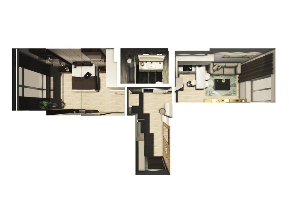 Планування 1-кімнатної квартири в ЖК Райдужний 43.69 м², фото 108429