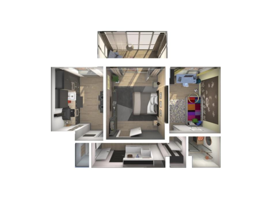 Планування 2-кімнатної квартири в ЖК Райдужний 64.18 м², фото 108431