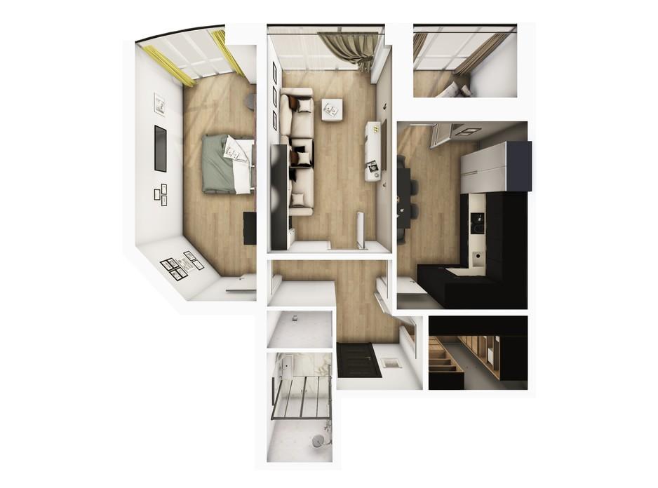 Планування 2-кімнатної квартири в ЖК Райдужний 64.85 м², фото 108432