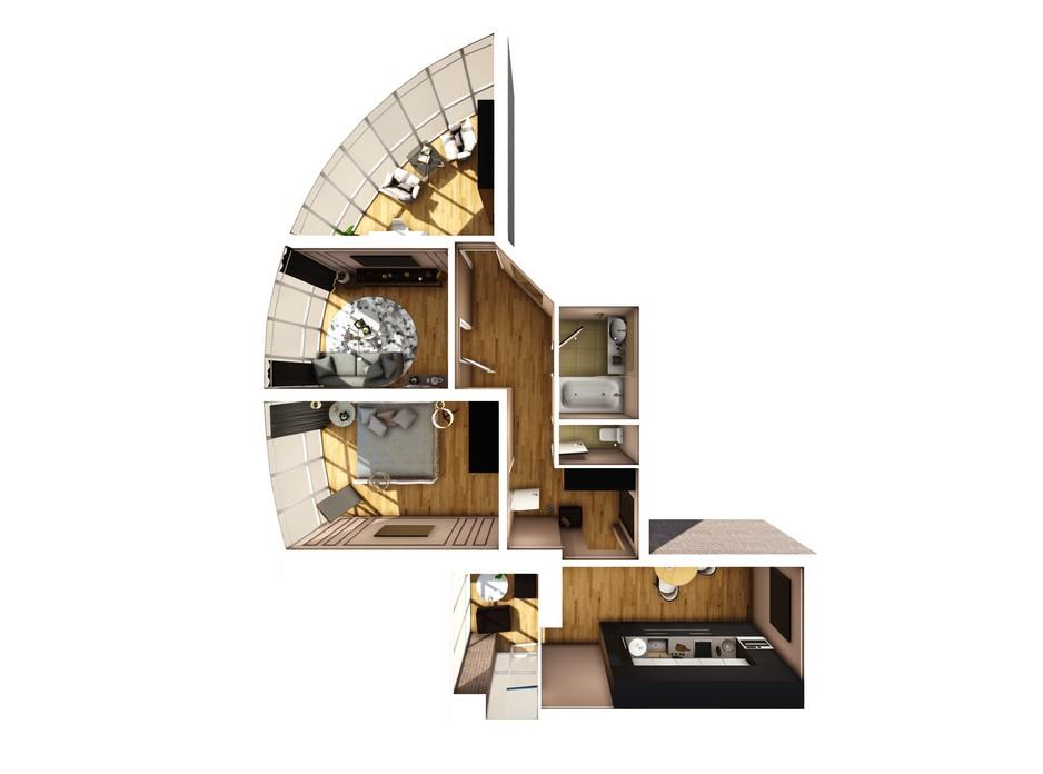 Планування 3-кімнатної квартири в ЖК Райдужний 80 м², фото 108433