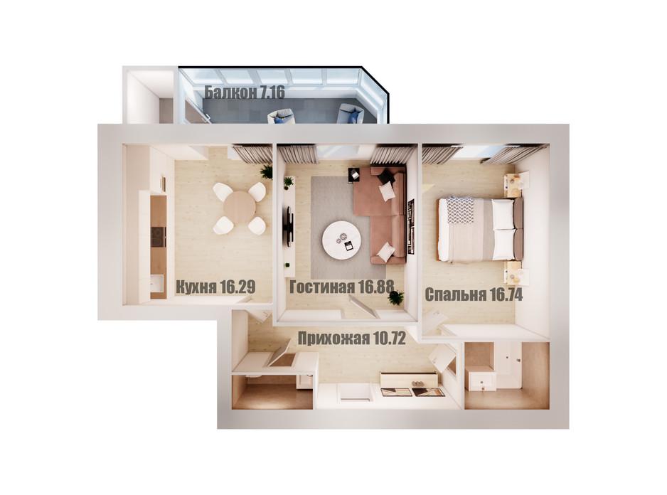 Планування 2-кімнатної квартири в ЖК Олімп 76.8 м², фото 108871