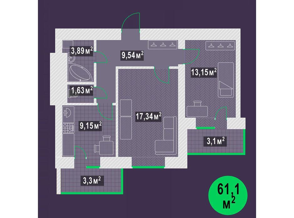 Планировка 2-комнатной квартиры в ЖК Гарден Скай 61.1 м², фото 109196