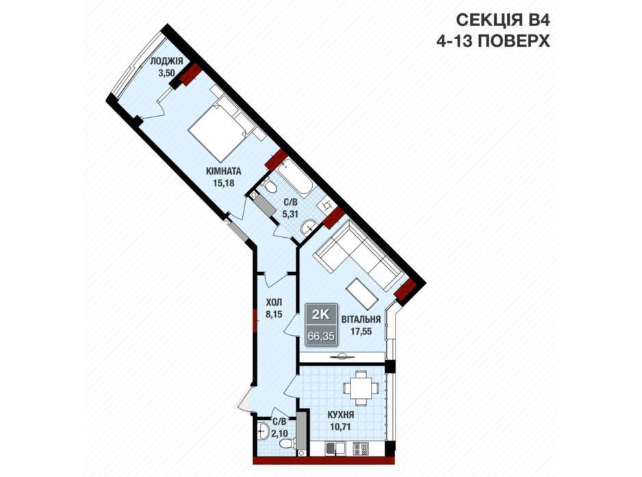Планировка 2-комнатной квартиры в ЖК Президент Холл 66.35 м², фото 109238