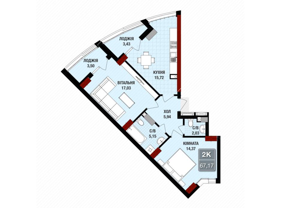 Планування 2-кімнатної квартири в ЖК Президент Хол 67.17 м², фото 109239