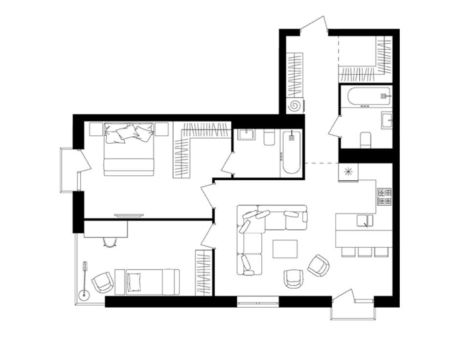 Планировка 2-комнатной квартиры в ЖК Avalon Up 75.17 м², фото 110266