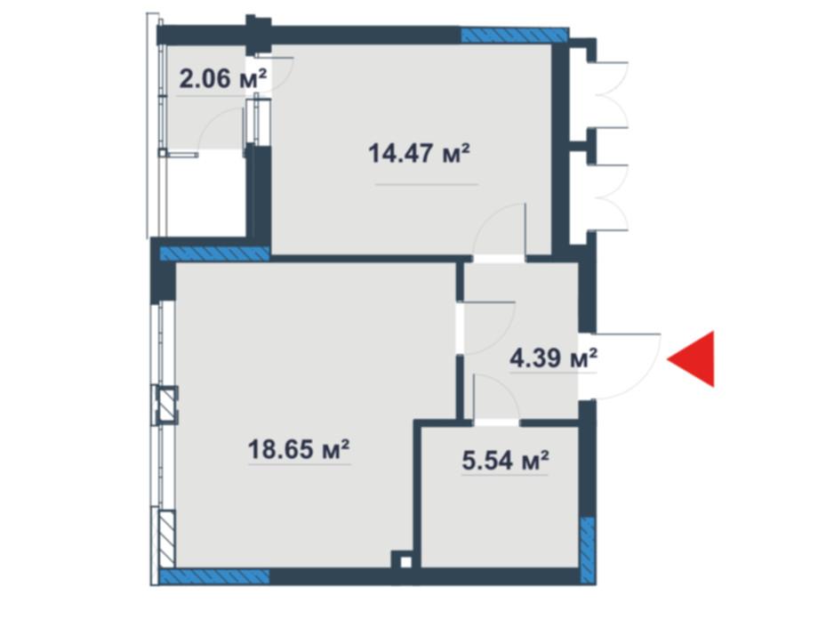 Планировка 1-комнатной квартиры в ЖК «Причал 8» 44.64 м², фото 110573