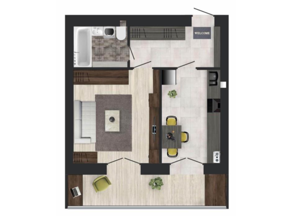 Планировка 1-комнатной квартиры в ЖК Кленовый Парк 39.72 м², фото 111301