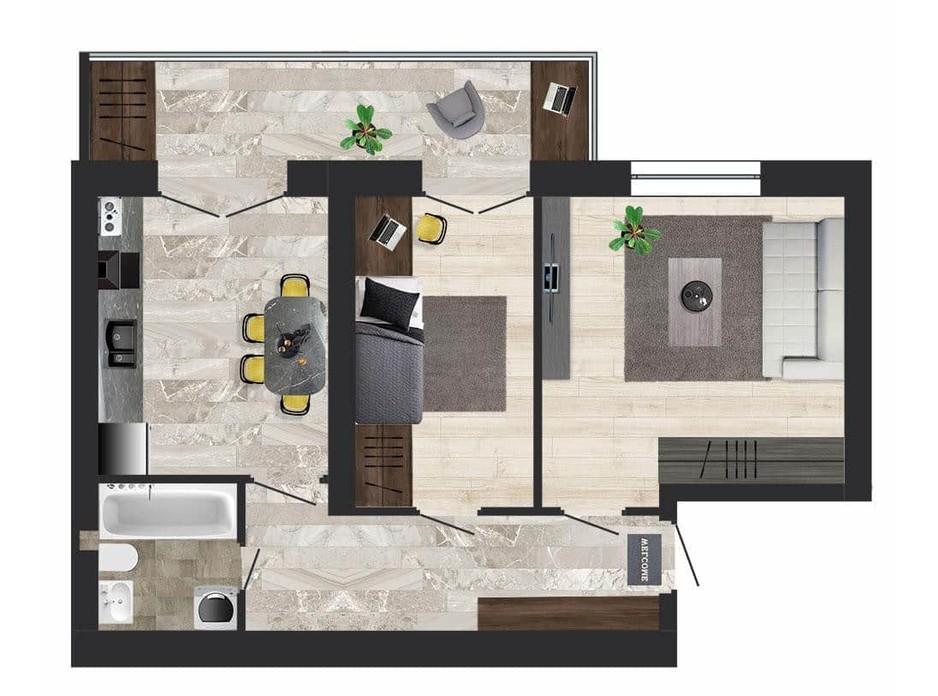 Планировка 2-комнатной квартиры в ЖК Кленовый Парк 57.24 м², фото 111302