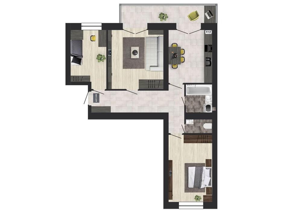 Планування 3-кімнатної квартири в ЖК Кленовий Парк 76.98 м², фото 111303