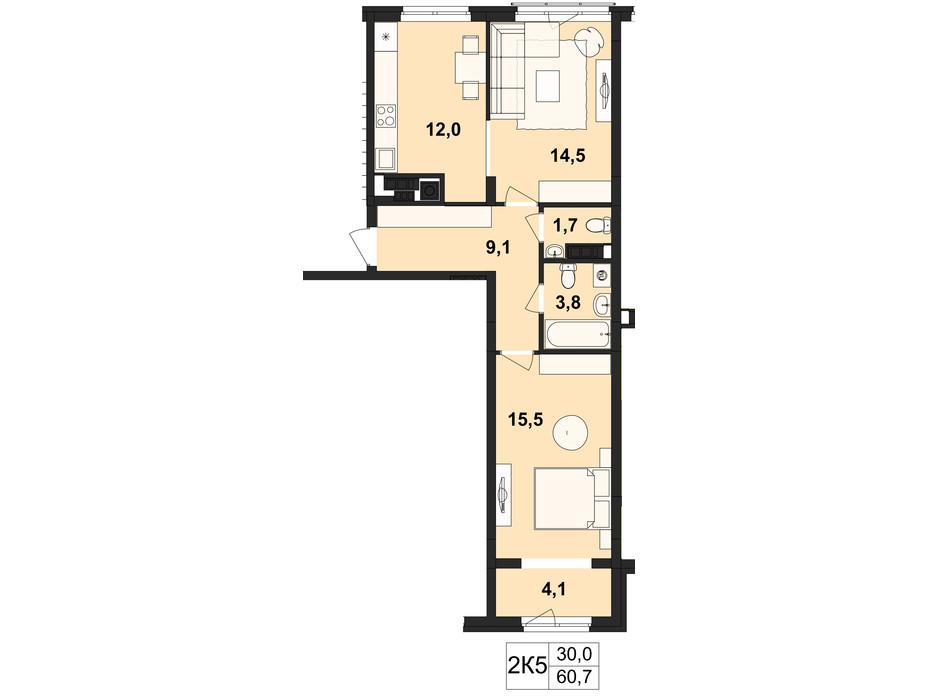 Планировка 2-комнатной квартиры в ЖК Киевский 60.7 м², фото 112047