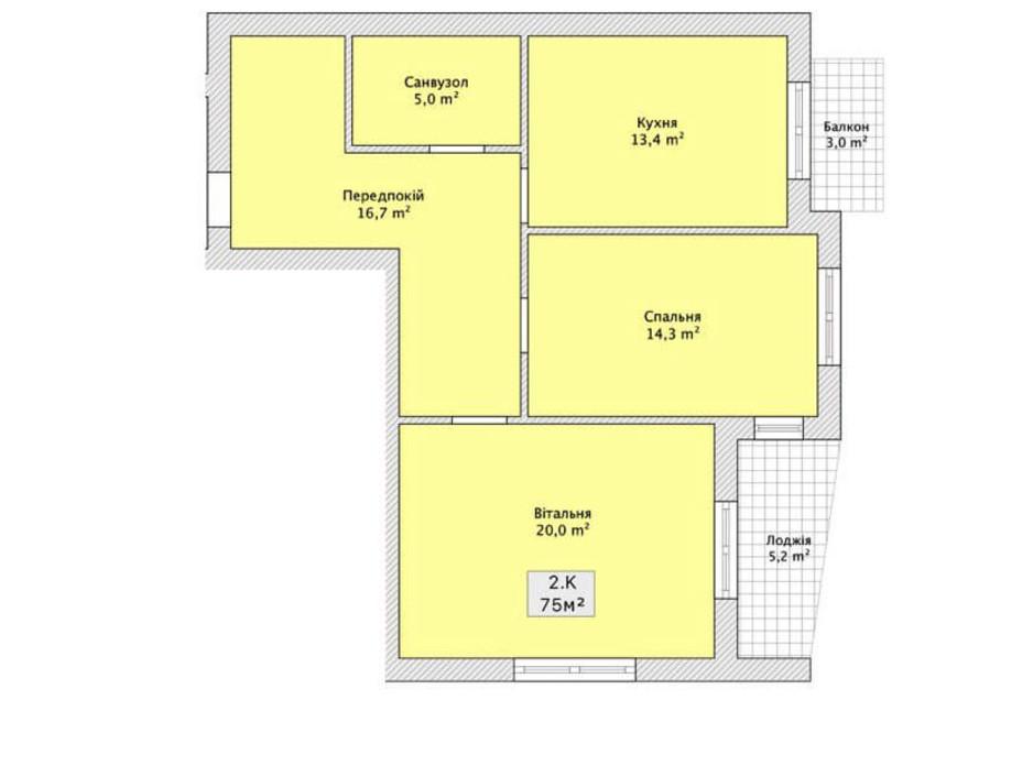 Планировка 2-комнатной квартиры в ЖК ул. Николайчука/переулок Сквозной 75 м², фото 112443