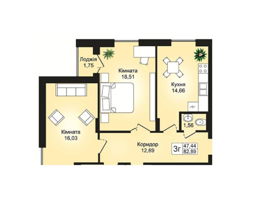 Планировка 3-комнатной квартиры в ЖК Prestige Hall 82.89 м², фото 113025
