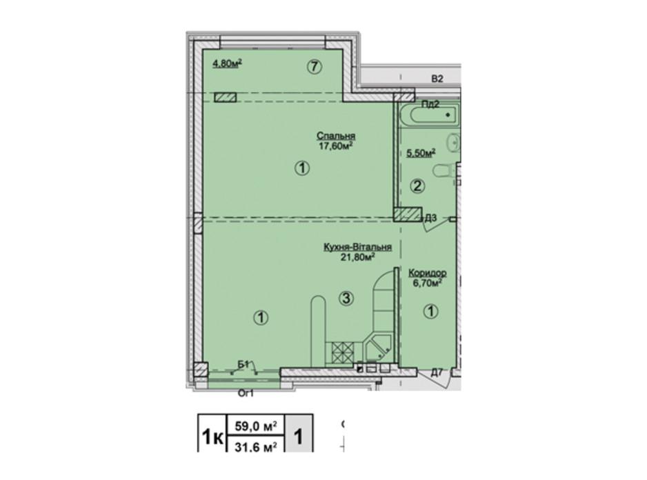 Планировка 1-комнатной квартиры в КД Rezydencja Zalizna Voda 59 м², фото 113171