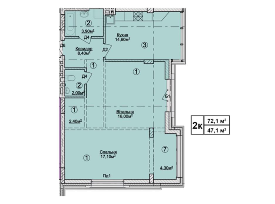 Планировка 2-комнатной квартиры в КД Rezydencja Zalizna Voda 72.1 м², фото 113172