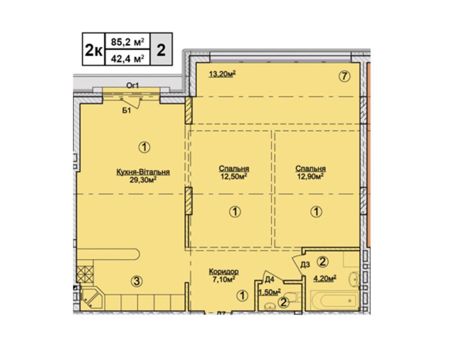 Планировка 2-комнатной квартиры в КД Rezydencja Zalizna Voda 85.2 м², фото 113173
