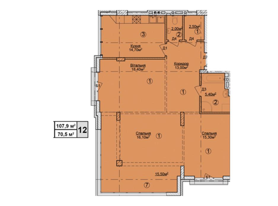 Планировка 3-комнатной квартиры в КД Rezydencja Zalizna Voda 107.9 м², фото 113177