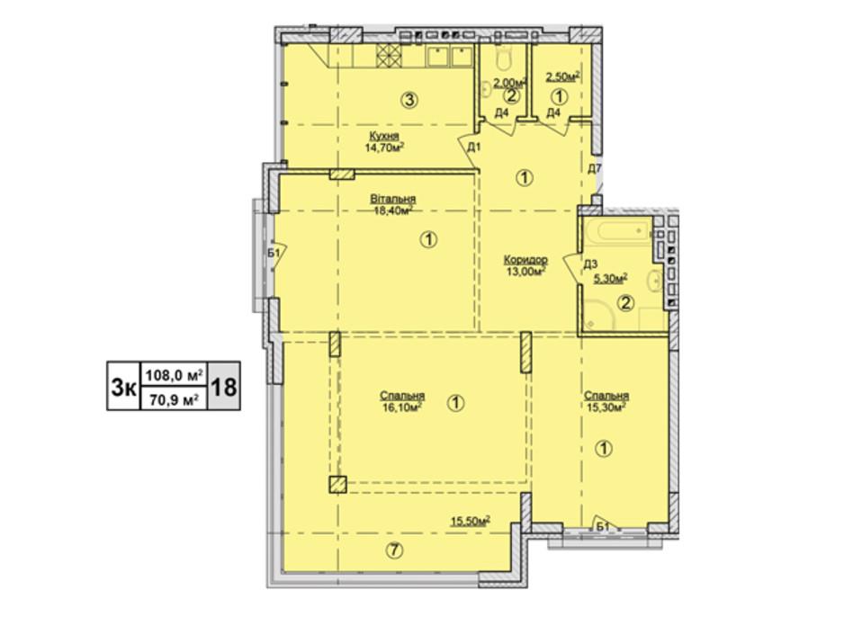 Планировка 3-комнатной квартиры в КД Rezydencja Zalizna Voda 108 м², фото 113188