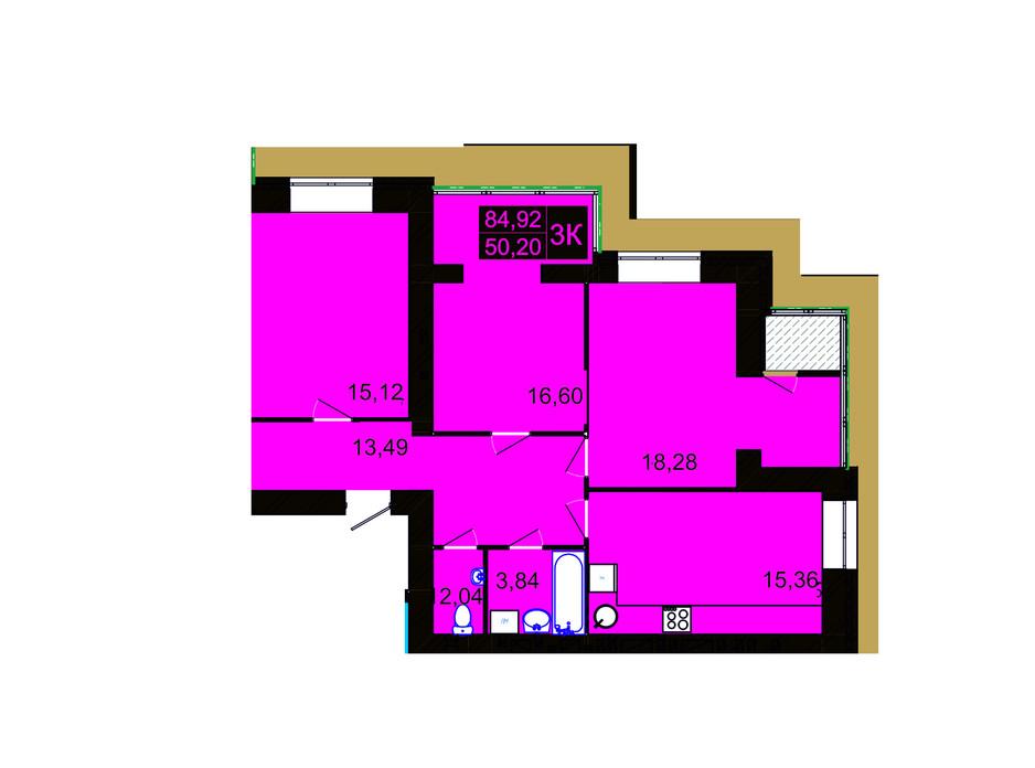 Планировка 3-комнатной квартиры в ЖК Millennium Hills 84.92 м², фото 113536
