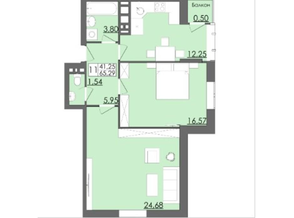 Планировка 2-комнатной квартиры в ЖК Родинна Казка 65.29 м², фото 114311