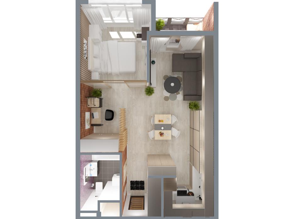 Планування 2-кімнатної квартири в ЖК А12 на Олимпійській 47 м², фото 114544