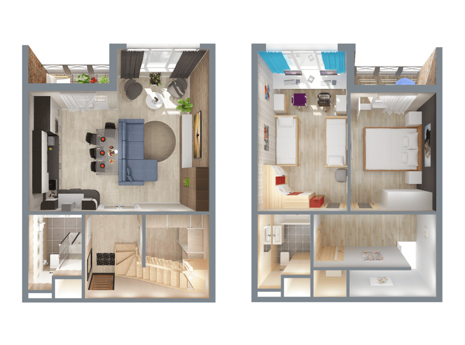 Планування багаторівневої квартири в ЖК А12 на Олимпійській 78 м², фото 114548