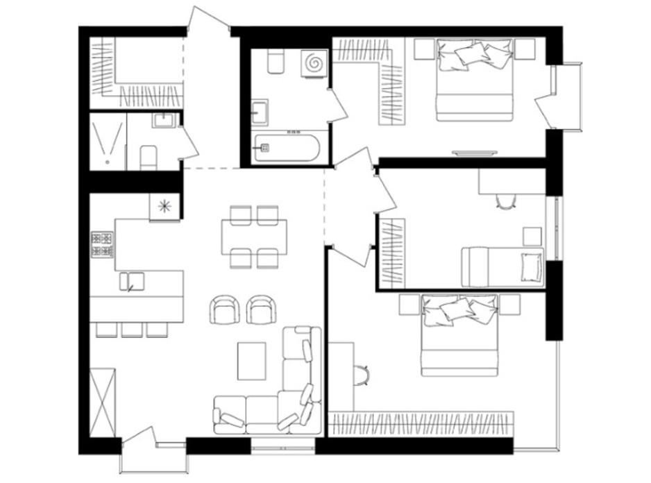 Планировка 3-комнатной квартиры в ЖК Avalon Up 91.3 м², фото 114793