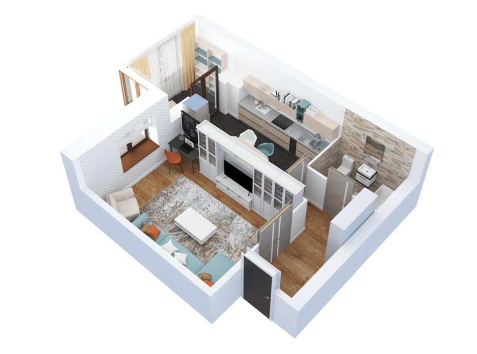 Планировка 1-комнатной квартиры в ЖК Тетеревский Бульвар 50.67 м², фото 115179