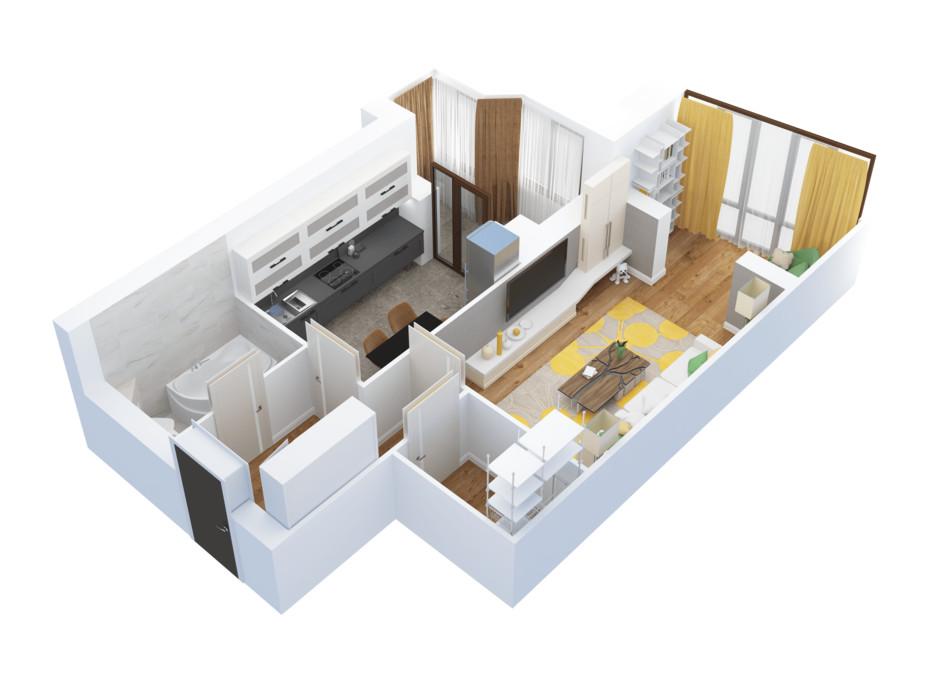 Планировка 1-комнатной квартиры в ЖК Тетеревский Бульвар 51.33 м², фото 115180