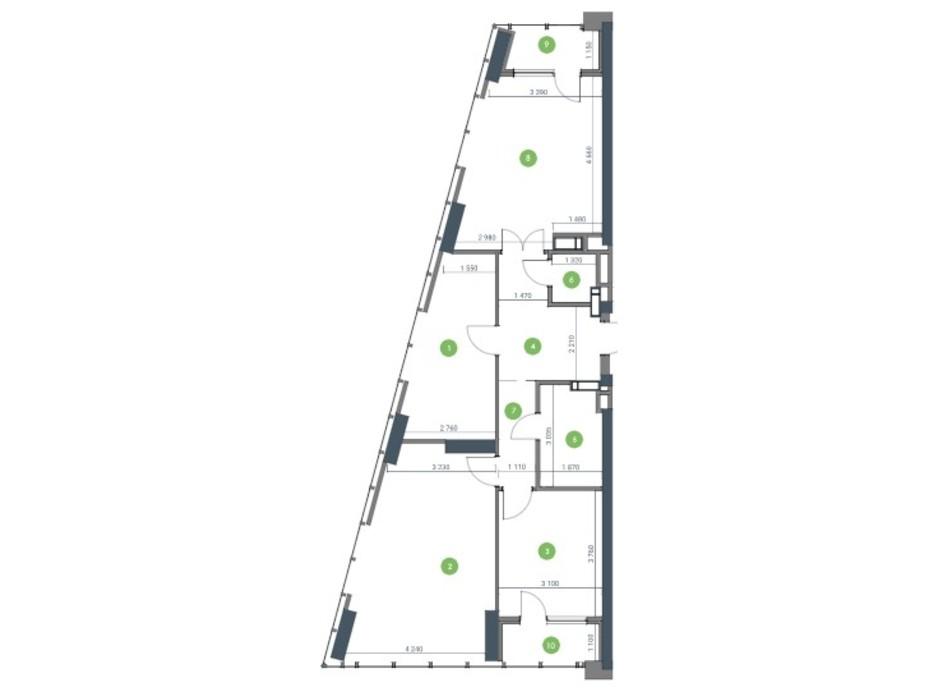 Планування 3-кімнатної квартири в ЖК «Метрополіс» 97.07 м², фото 115202