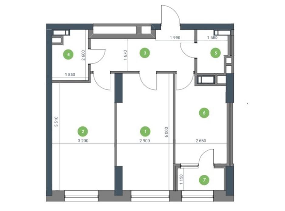 Планування 2-кімнатної квартири в ЖК «Метрополіс» 88.86 м², фото 115206