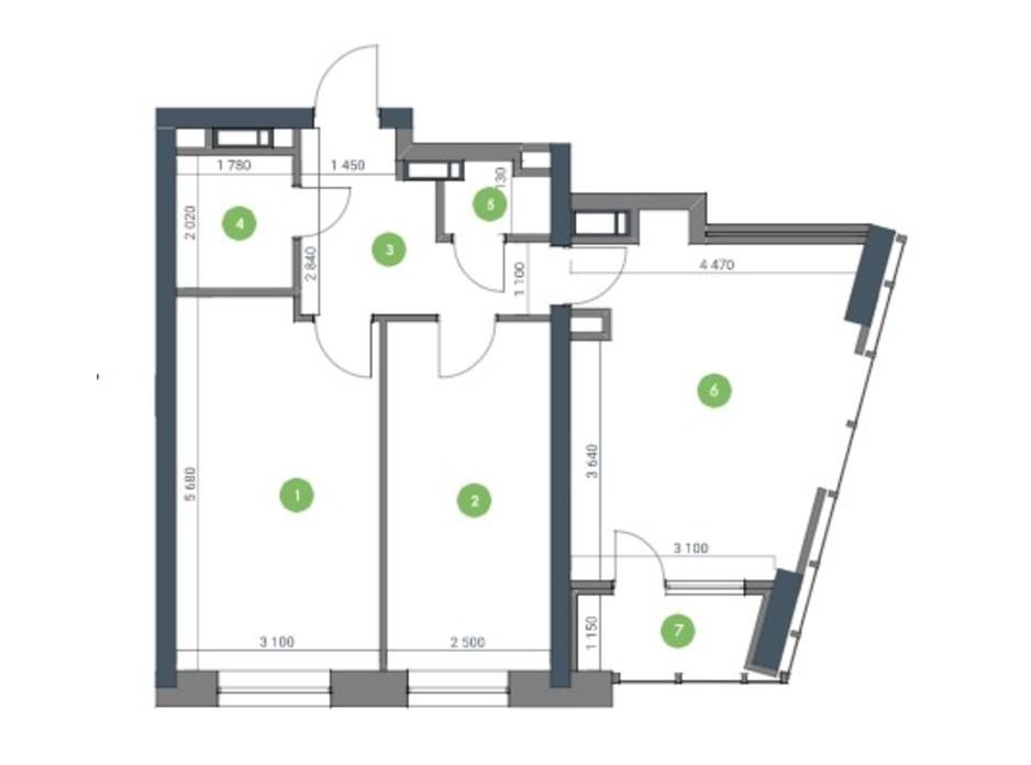 Планировка 2-комнатной квартиры в ЖК «Метрополис» 72.12 м², фото 115209