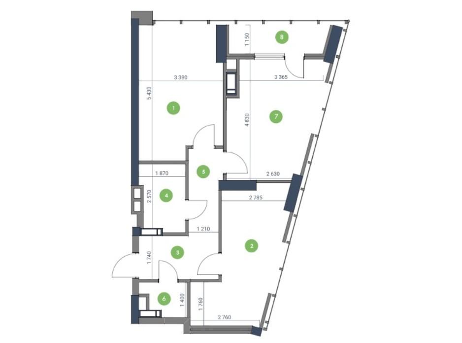 Планування 2-кімнатної квартири в ЖК «Метрополіс» 81.09 м², фото 115211