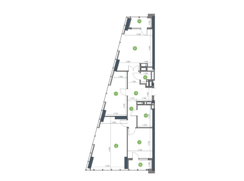 Планування 3-кімнатної квартири в ЖК «Метрополіс» 96.54 м², фото 115430