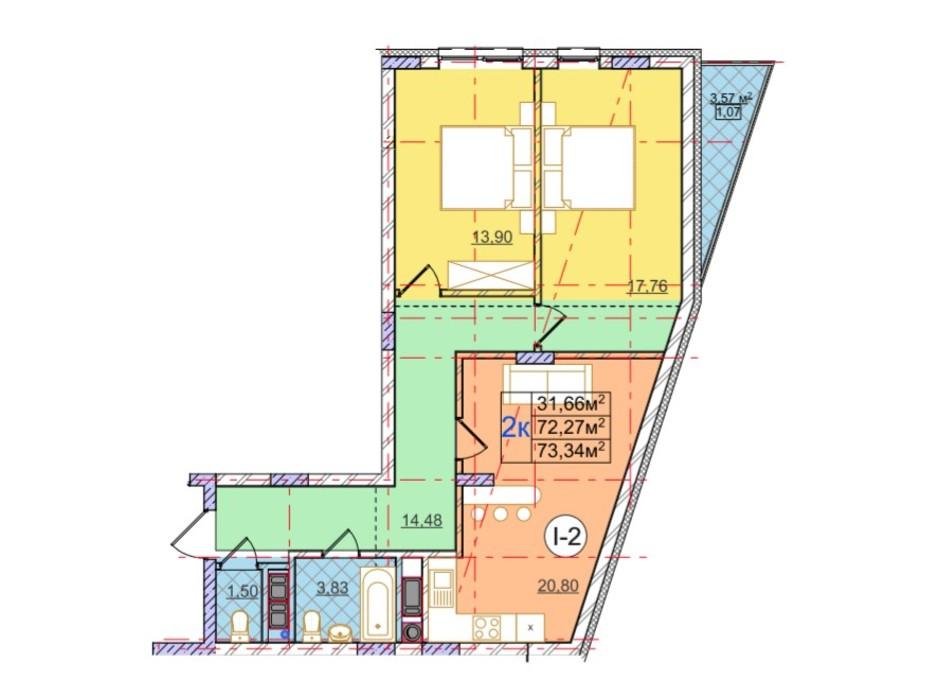 Планування 2-кімнатної квартири в ЖК Перфецького 73.34 м², фото 116954