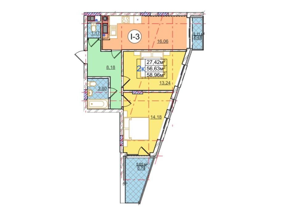 Планування 2-кімнатної квартири в ЖК Перфецького 58.96 м², фото 116955