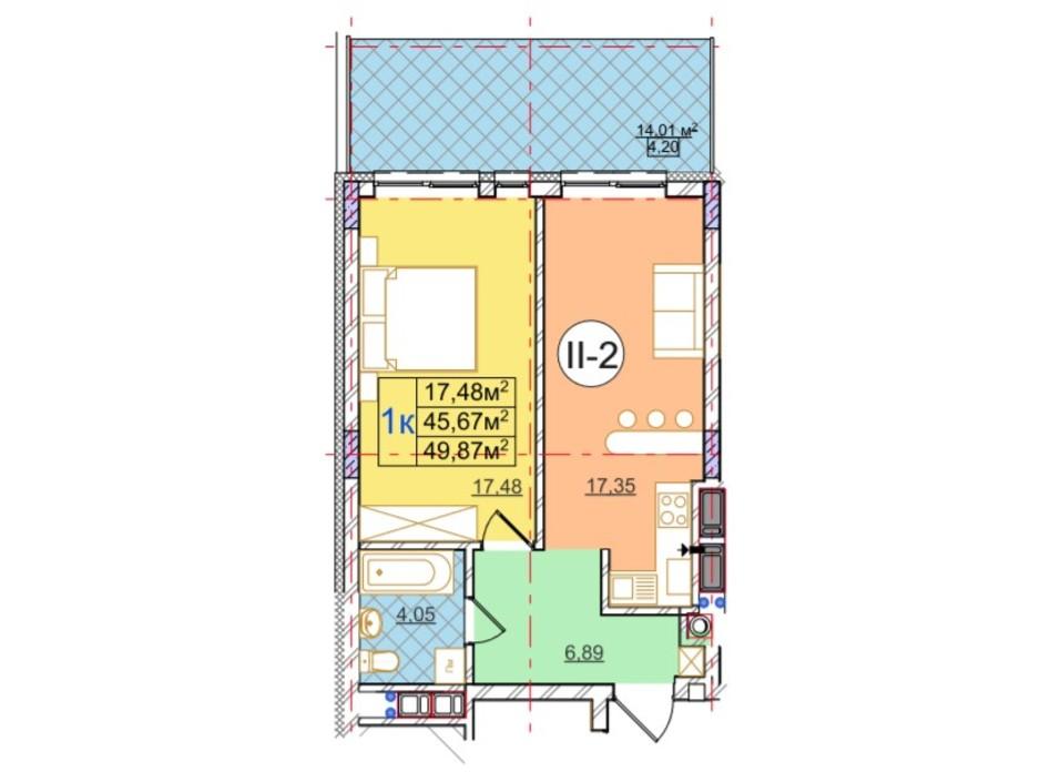 Планування 1-кімнатної квартири в ЖК Перфецького 49.87 м², фото 116976