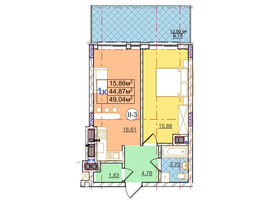 Планування 1-кімнатної квартири в ЖК Перфецького 49.04 м², фото 116977