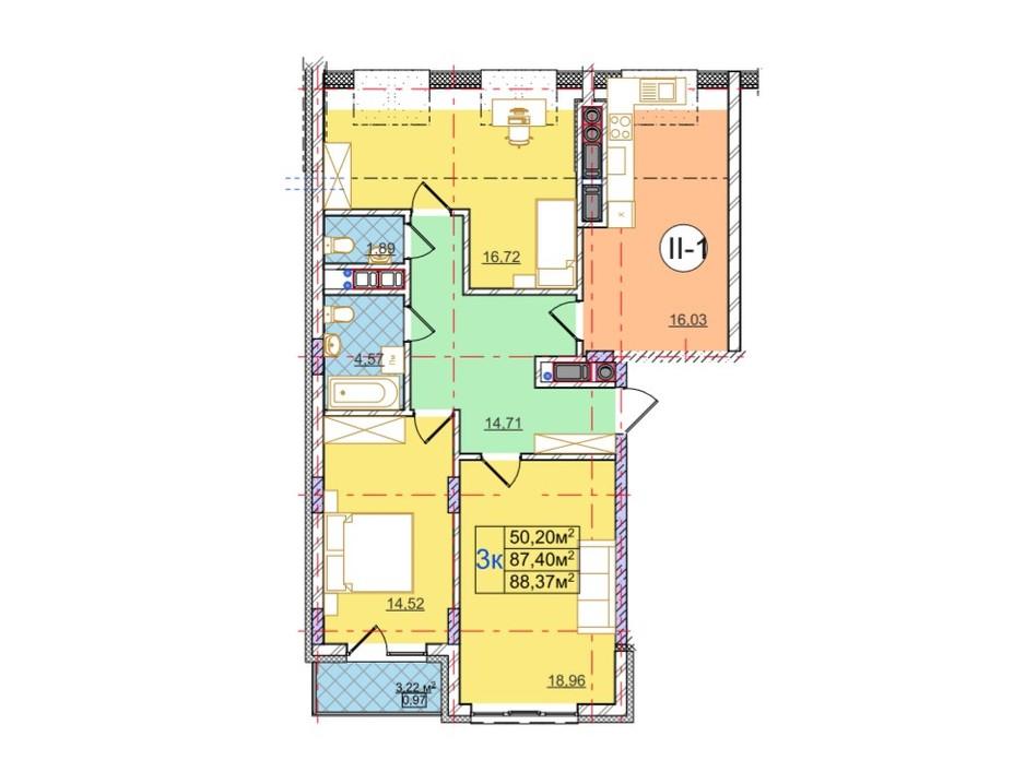 Планування 3-кімнатної квартири в ЖК Перфецького 88.37 м², фото 116980