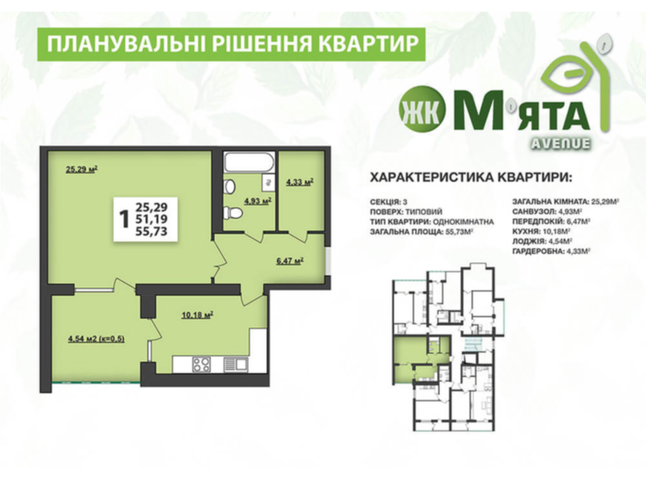 Планировка 1-комнатной квартиры в ЖК Мята Авеню 55.73 м², фото 117494