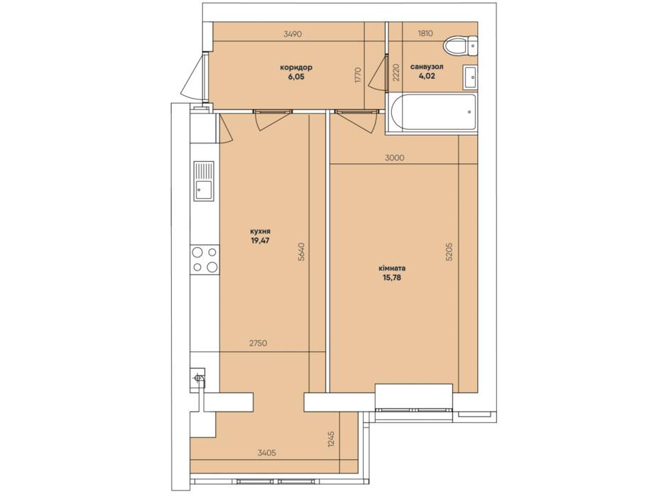Планування 1-кімнатної квартири в ЖК Ковалівський 45.32 м², фото 117920