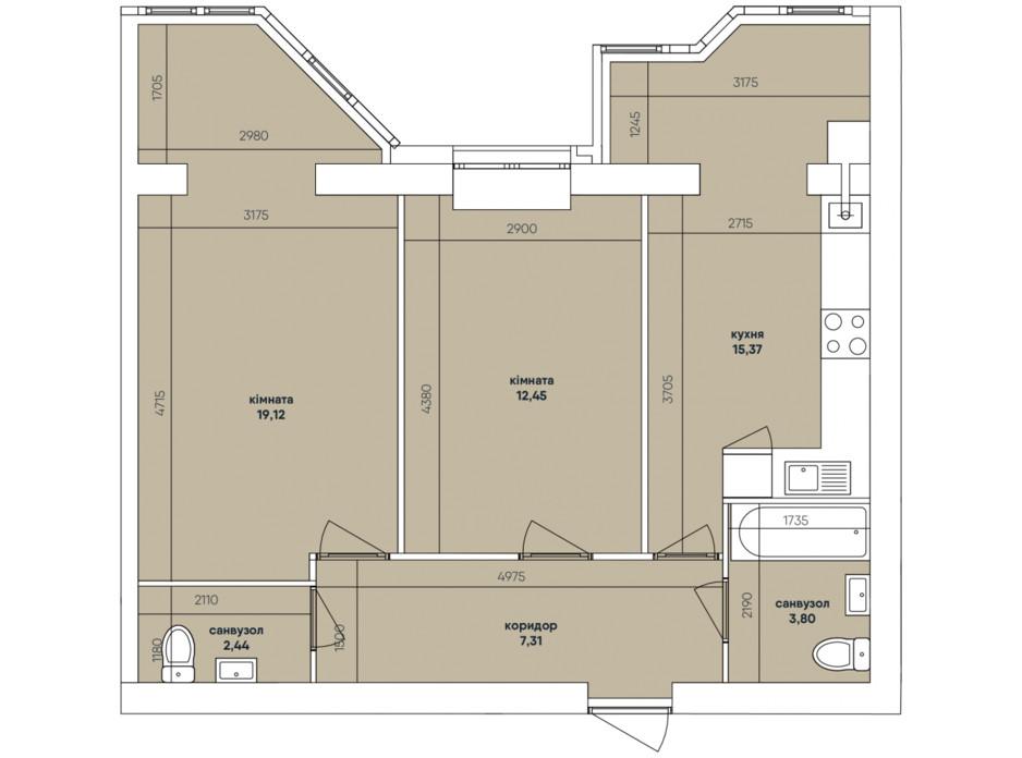 Планування 2-кімнатної квартири в ЖК Ковалівський 60.49 м², фото 117921
