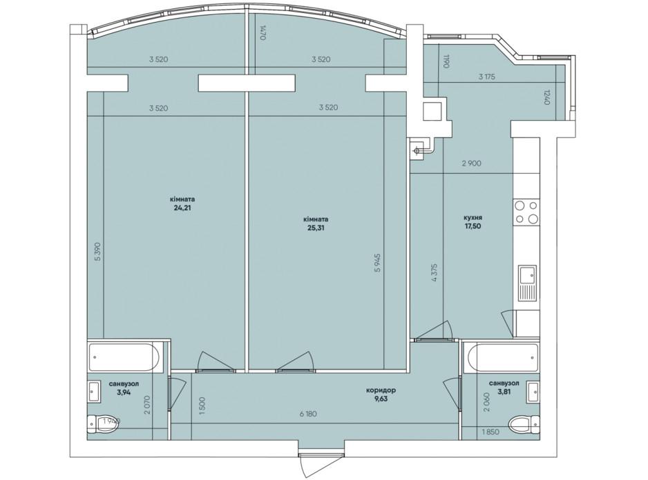 Планування 2-кімнатної квартири в ЖК Ковалівський 86.31 м², фото 117922