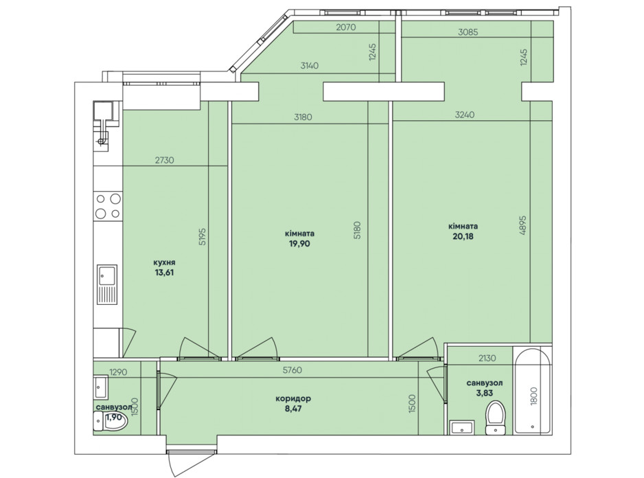 Планування 2-кімнатної квартири в ЖК Ковалівський 67.9 м², фото 117923