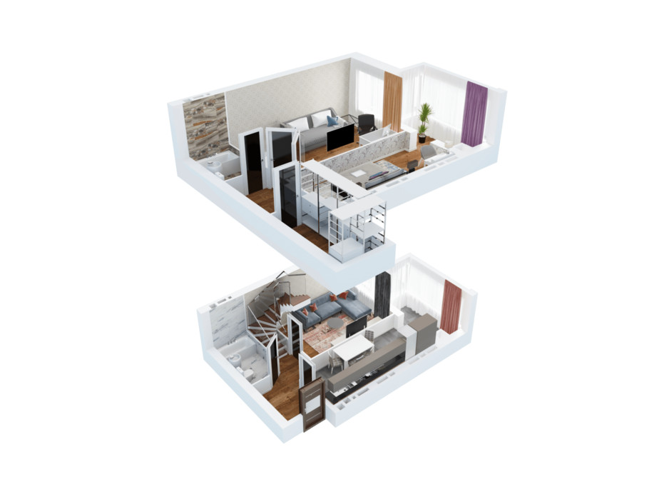 Планування багаторівневої квартири в ЖК Ковалівський 95.75 м², фото 117924